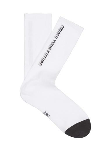 Mavi Erkek  Yazı Baskılı Çorap 092035-620 Beyaz